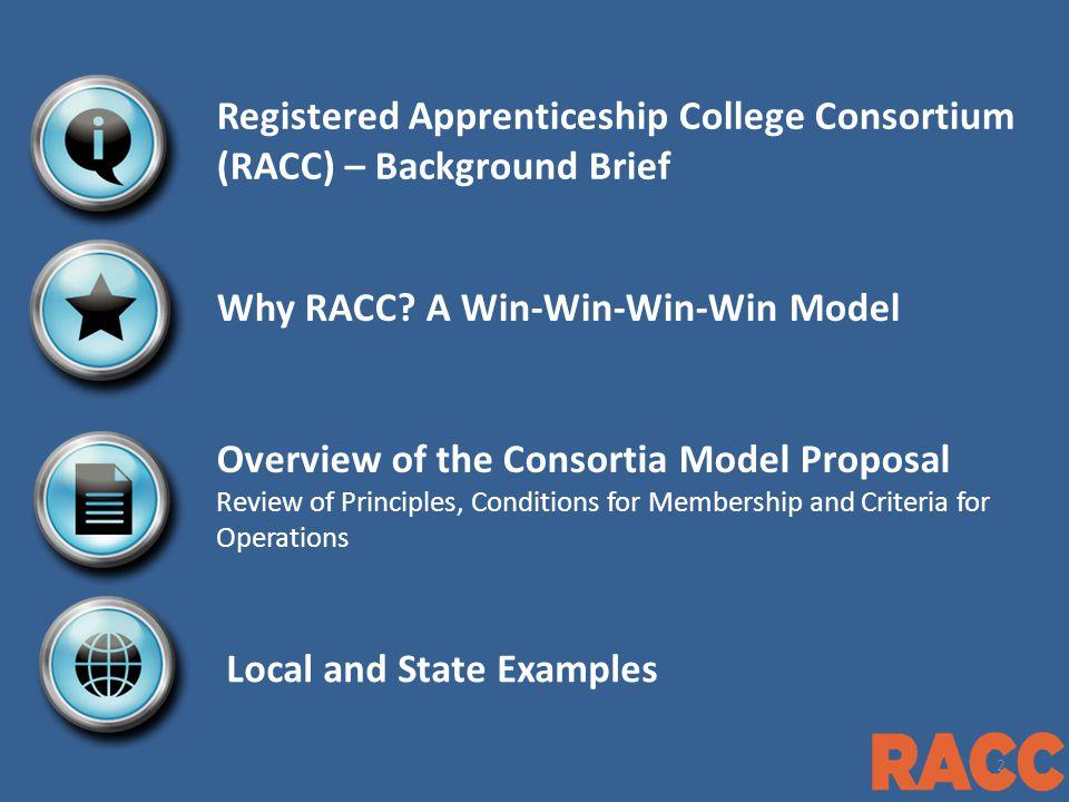 Registered Apprenticeship College Consortium (RACC) – Background Brief Why RACC.