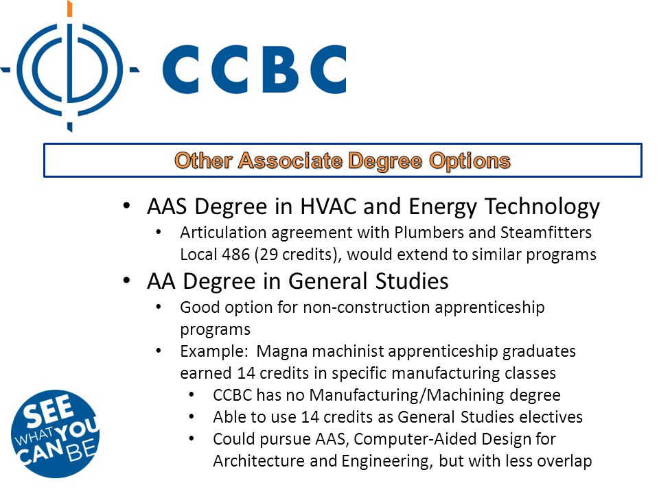 AAS Degree in HVAC and Energy Technology Articulation agreement with Plumbers and Steamfitters Local 486 (29 credits), would extend to similar programs AA Degree in General Studies Good option for non-construction apprenticeship programs Example: Magna machinist apprenticeship graduates earned 14 credits in specific manufacturing classes CCBC has no Manufacturing/Machining degree Able to use 14 credits as General Studies electives Could pursue AAS, Computer-Aided Design for Architecture and Engineering, but with less overlap