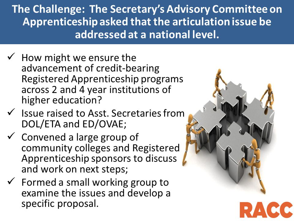 The Challenge: The Secretary's Advisory Committee on Apprenticeship asked that the articulation issue be addressed at a national level.