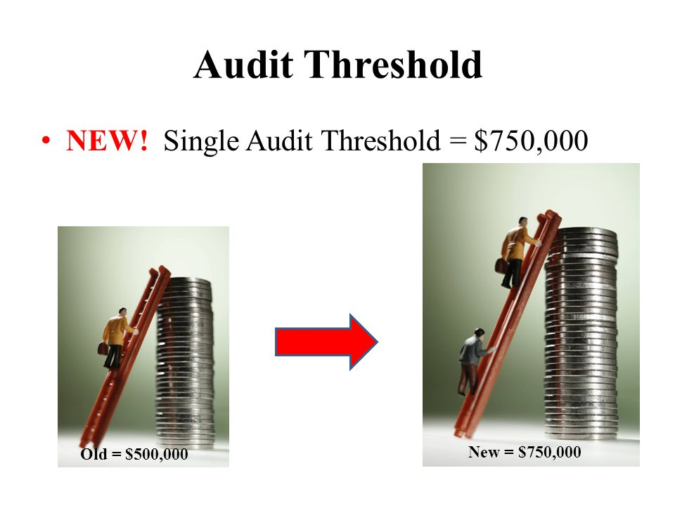 Audit Threshold NEW! Single Audit Threshold = $750,000 Old = $500,000 New = $750,000