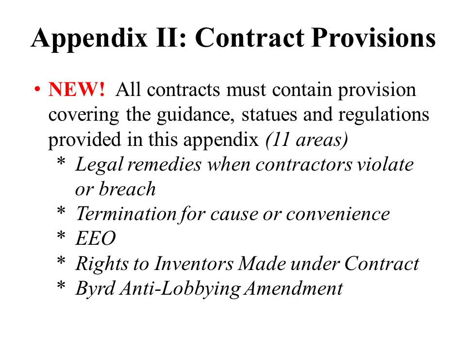 Appendix II: Contract Provisions NEW.