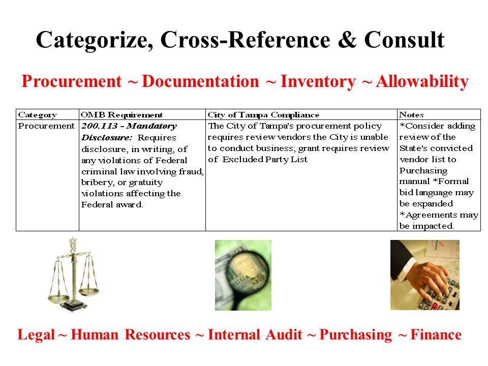 Categorize, Cross-Reference & Consult Procurement ~ Documentation ~ Inventory ~ Allowability Legal ~ Human Resources ~ Internal Audit ~ Purchasing ~ Finance