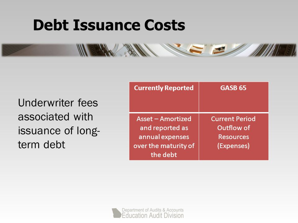 Debt Issuance Costs Currently ReportedGASB 65 Asset – Amortized and reported as annual expenses over the maturity of the debt Current Period Outflow of Resources (Expenses) Underwriter fees associated with issuance of long- term debt