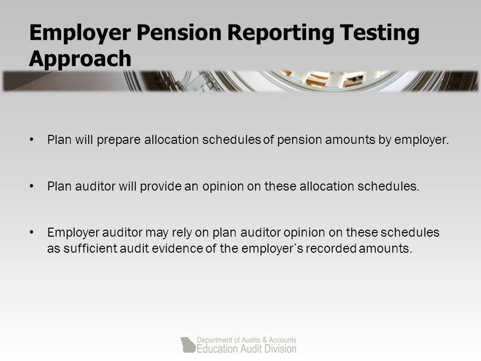 Employer Pension Reporting Testing Approach Plan will prepare allocation schedules of pension amounts by employer.