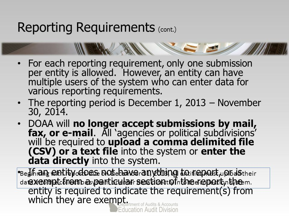 Reporting Requirements (cont.) For each reporting requirement, only one submission per entity is allowed.