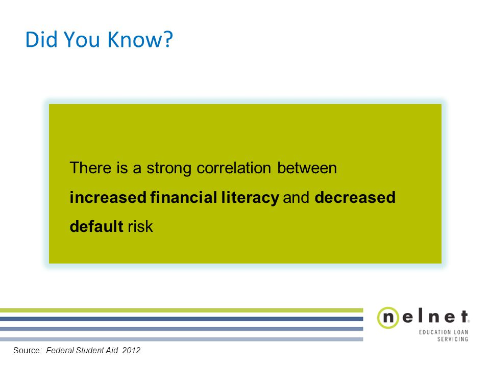 There is a strong correlation between increased financial literacy and decreased default risk Did You Know.