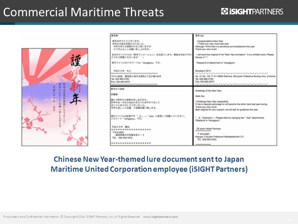 13 Commercial Maritime Threats Proprietary and Confidential Information.