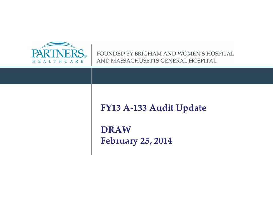 FY13 A-133 Audit Update DRAW February 25, 2014