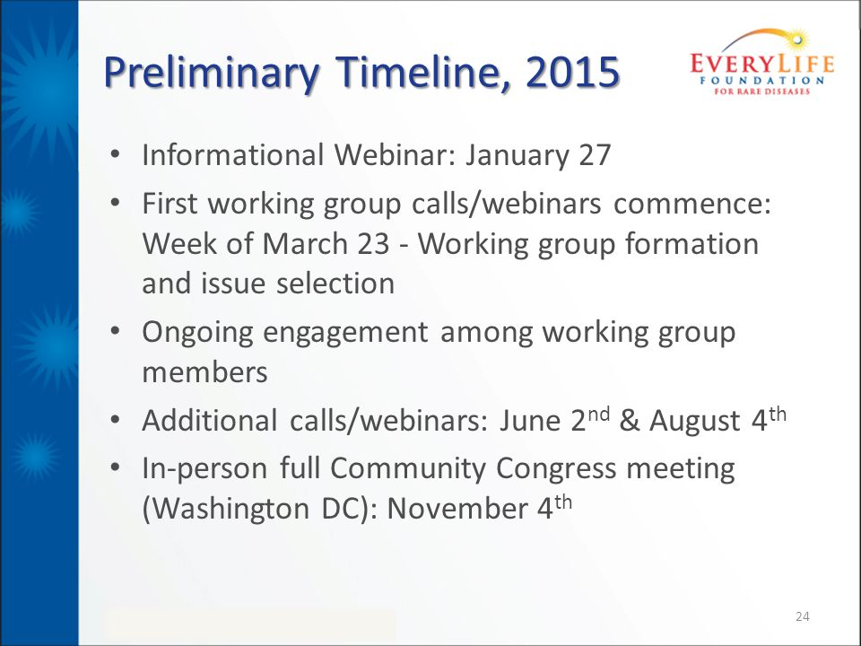 Preliminary Timeline, 2015 Informational Webinar: January 27 First working group calls/webinars commence: Week of March 23 - Working group formation and issue selection Ongoing engagement among working group members Additional calls/webinars: June 2 nd & August 4 th In-person full Community Congress meeting (Washington DC): November 4 th 24