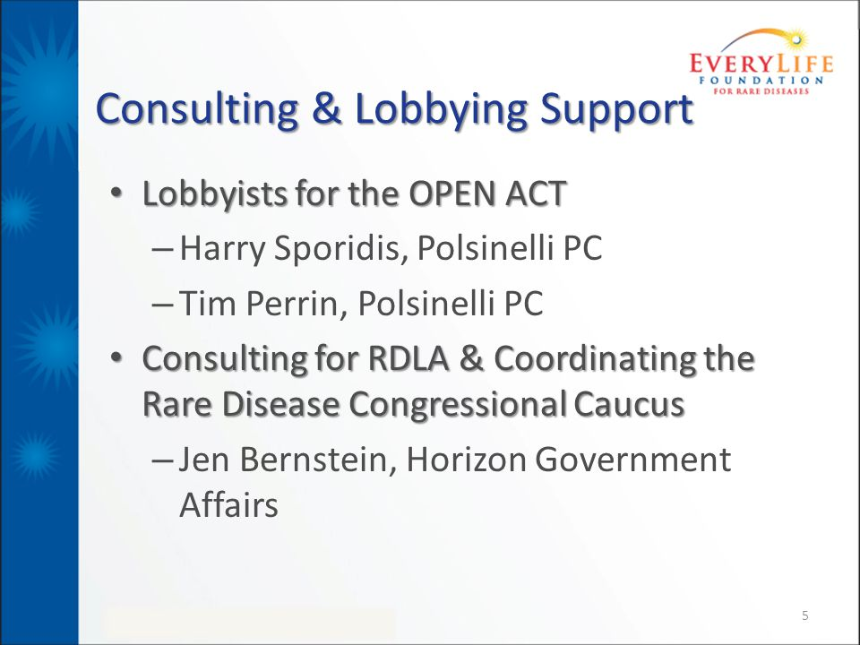 Consulting & Lobbying Support Lobbyists for the OPEN ACT Lobbyists for the OPEN ACT – Harry Sporidis, Polsinelli PC – Tim Perrin, Polsinelli PC Consulting for RDLA & Coordinating the Rare Disease Congressional Caucus Consulting for RDLA & Coordinating the Rare Disease Congressional Caucus – Jen Bernstein, Horizon Government Affairs 5