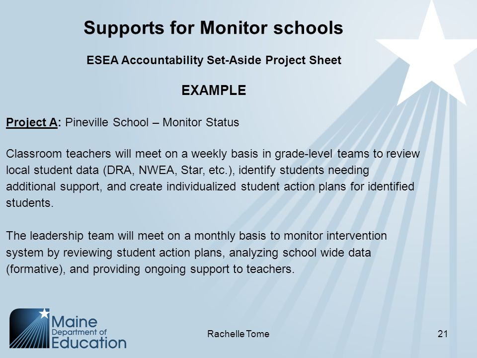 Supports for Monitor schools ESEA Accountability Set-Aside Project Sheet EXAMPLE Project A: Pineville School – Monitor Status Classroom teachers will meet on a weekly basis in grade-level teams to review local student data (DRA, NWEA, Star, etc.), identify students needing additional support, and create individualized student action plans for identified students.
