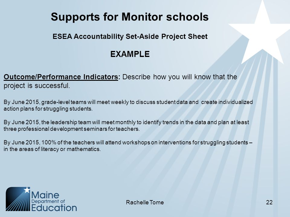 Supports for Monitor schools ESEA Accountability Set-Aside Project Sheet EXAMPLE Outcome/Performance Indicators: Describe how you will know that the project is successful.