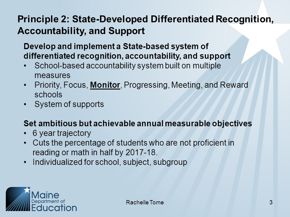 Develop and implement a State-based system of differentiated recognition, accountability, and support School-based accountability system built on multiple measures Priority, Focus, Monitor, Progressing, Meeting, and Reward schools System of supports Set ambitious but achievable annual measurable objectives 6 year trajectory Cuts the percentage of students who are not proficient in reading or math in half by 2017-18.