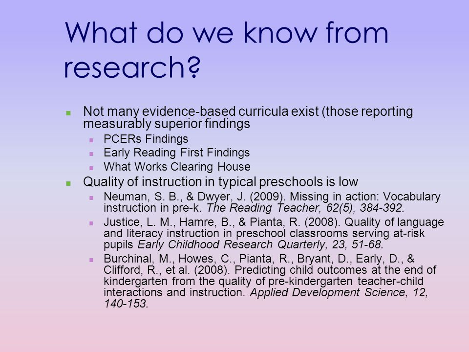 What do we know from research.