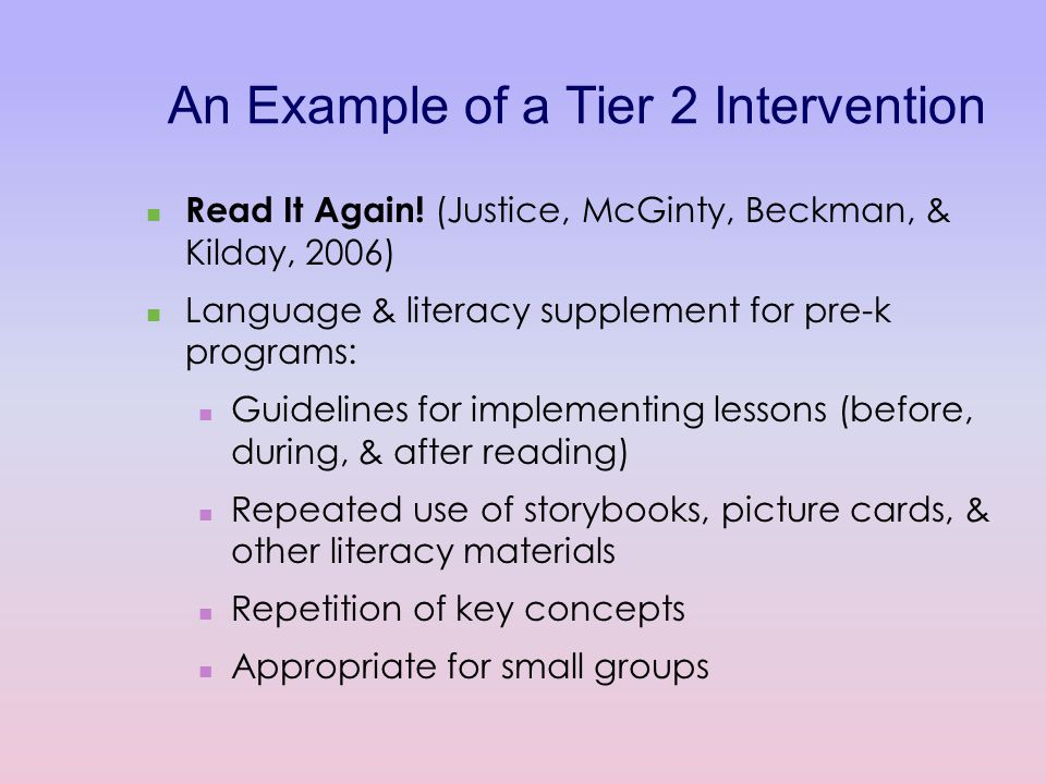 An Example of a Tier 2 Intervention Read It Again.