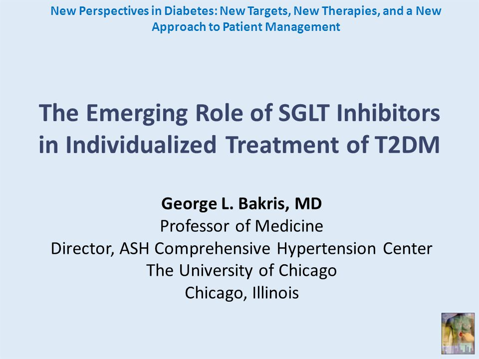 The Emerging Role of SGLT Inhibitors in Individualized Treatment of T2DM New Perspectives in Diabetes: New Targets, New Therapies, and a New Approach to Patient Management George L.