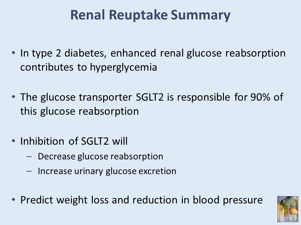 Renal Reuptake Summary In type 2 diabetes, enhanced renal glucose reabsorption contributes to hyperglycemia The glucose transporter SGLT2 is responsible for 90% of this glucose reabsorption Inhibition of SGLT2 will –Decrease glucose reabsorption –Increase urinary glucose excretion Predict weight loss and reduction in blood pressure