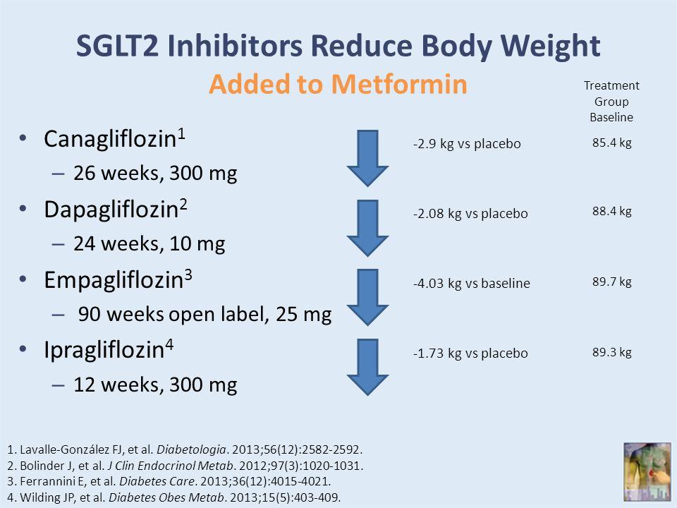 SGLT2 Inhibitors Reduce Body Weight Added to Metformin Canagliflozin 1 – 26 weeks, 300 mg Dapagliflozin 2 – 24 weeks, 10 mg Empagliflozin 3 – 90 weeks open label, 25 mg Ipragliflozin 4 – 12 weeks, 300 mg 1.Lavalle-González FJ, et al.