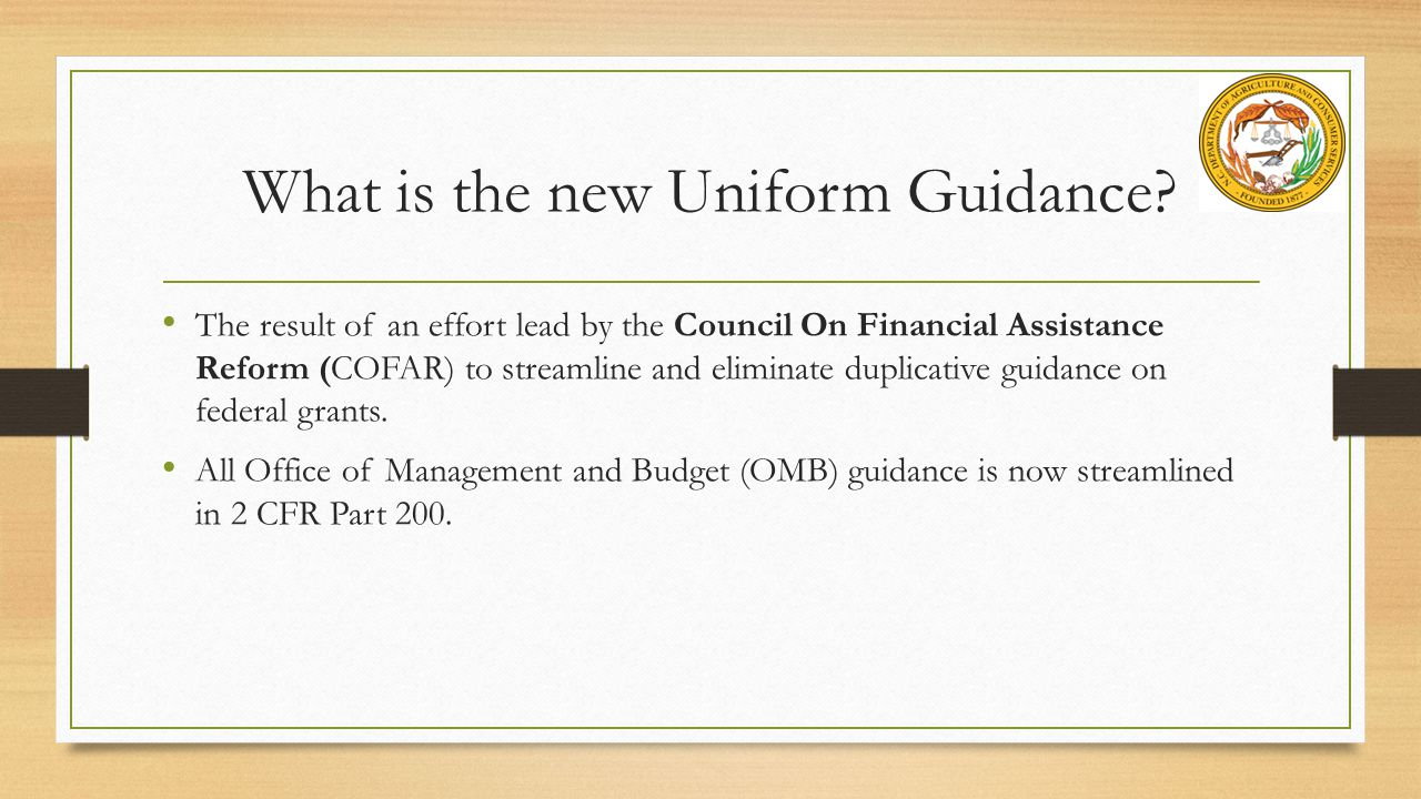 What is the new Uniform Guidance.