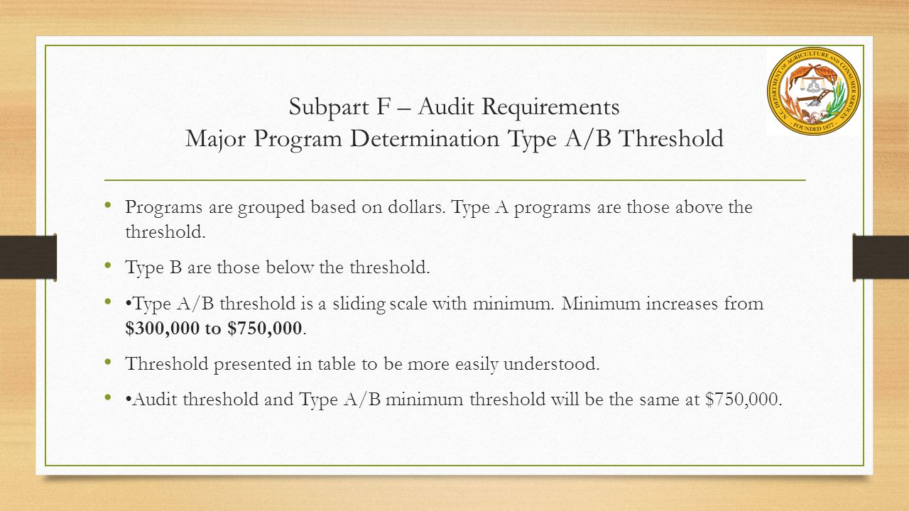 Subpart F – Audit Requirements Major Program Determination Type A/B Threshold Programs are grouped based on dollars.