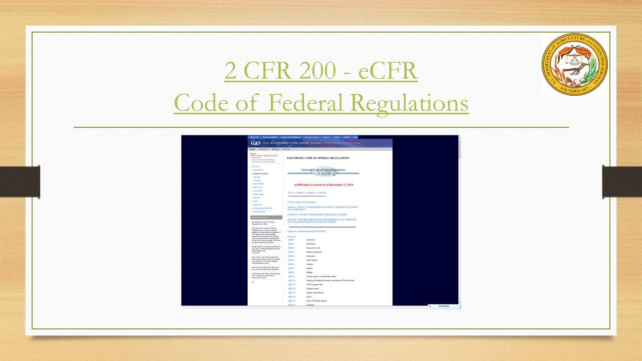 2 CFR 200 - eCFR Code of Federal Regulations