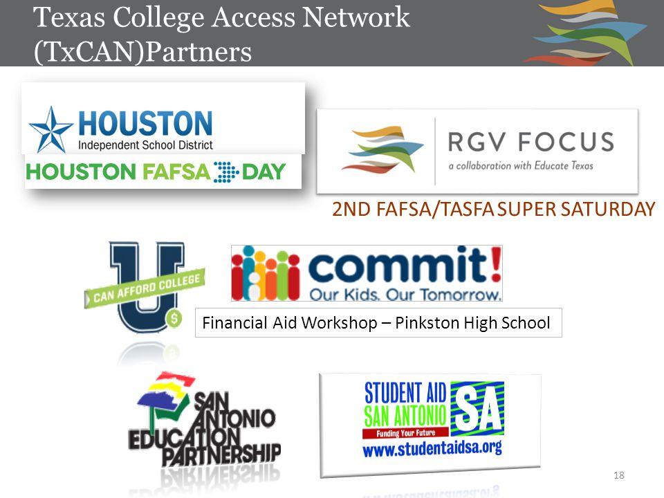 Texas College Access Network (TxCAN)Partners 18 2ND FAFSA/TASFA SUPER SATURDAY Financial Aid Workshop – Pinkston High School