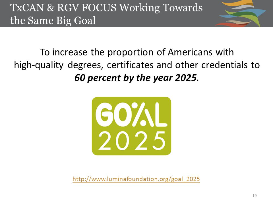 TxCAN & RGV FOCUS Working Towards the Same Big Goal 19 http://www.luminafoundation.org/goal_2025 To increase the proportion of Americans with high-quality degrees, certificates and other credentials to 60 percent by the year 2025.