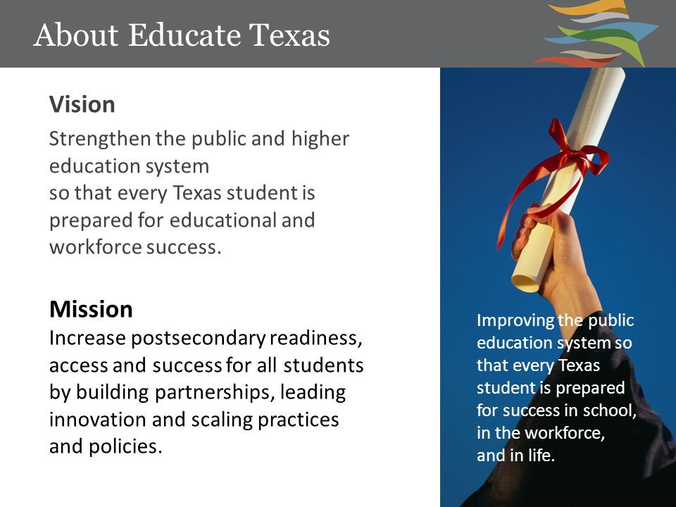 About Educate Texas Improving the public education system so that every Texas student is prepared for success in school, in the workforce, and in life.