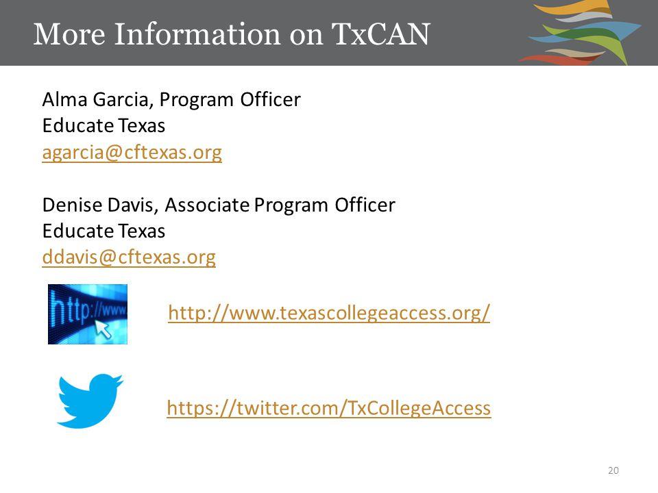 http://www.texascollegeaccess.org/ https://twitter.com/TxCollegeAccess More Information on TxCAN 20 Alma Garcia, Program Officer Educate Texas agarcia