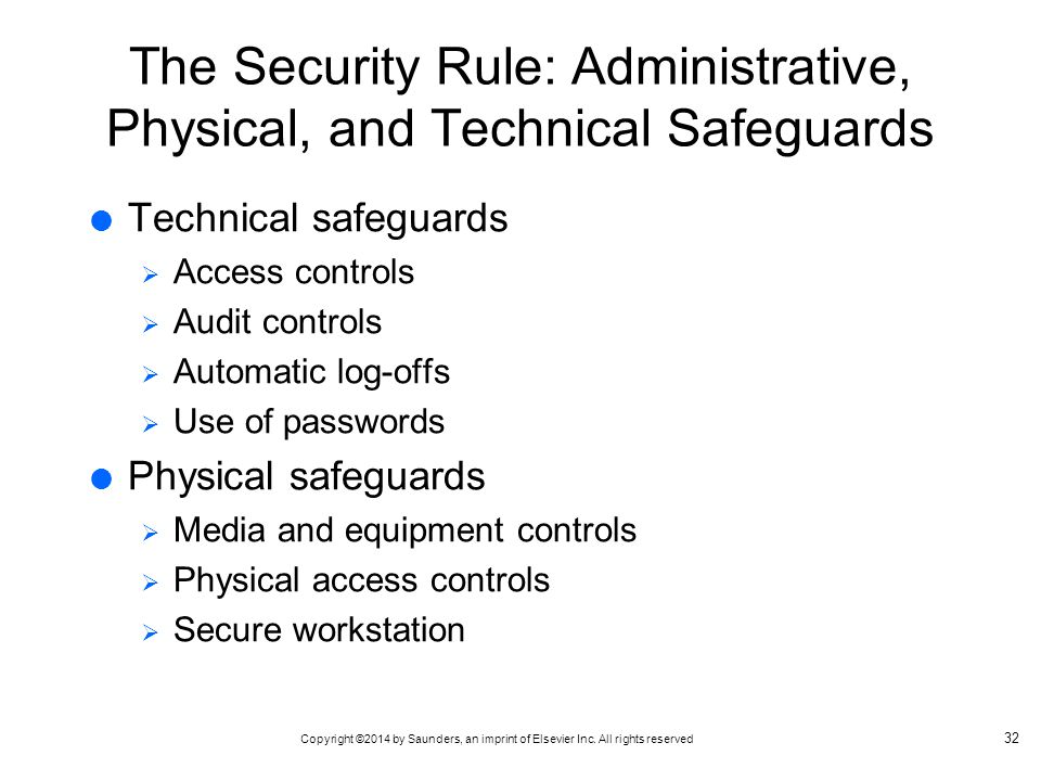 Copyright ©2014 by Saunders, an imprint of Elsevier Inc. All rights reserved The Security Rule: Administrative, Physical, and Technical Safeguards  T