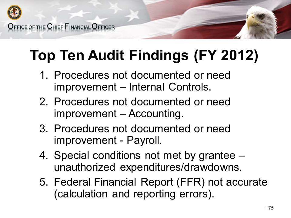 Top Ten Audit Findings (FY 2012) 1.Procedures not documented or need improvement – Internal Controls.