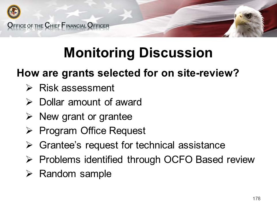 Monitoring Discussion How are grants selected for on site-review.