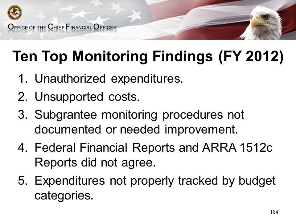 Ten Top Monitoring Findings (FY 2012) 1.Unauthorized expenditures.