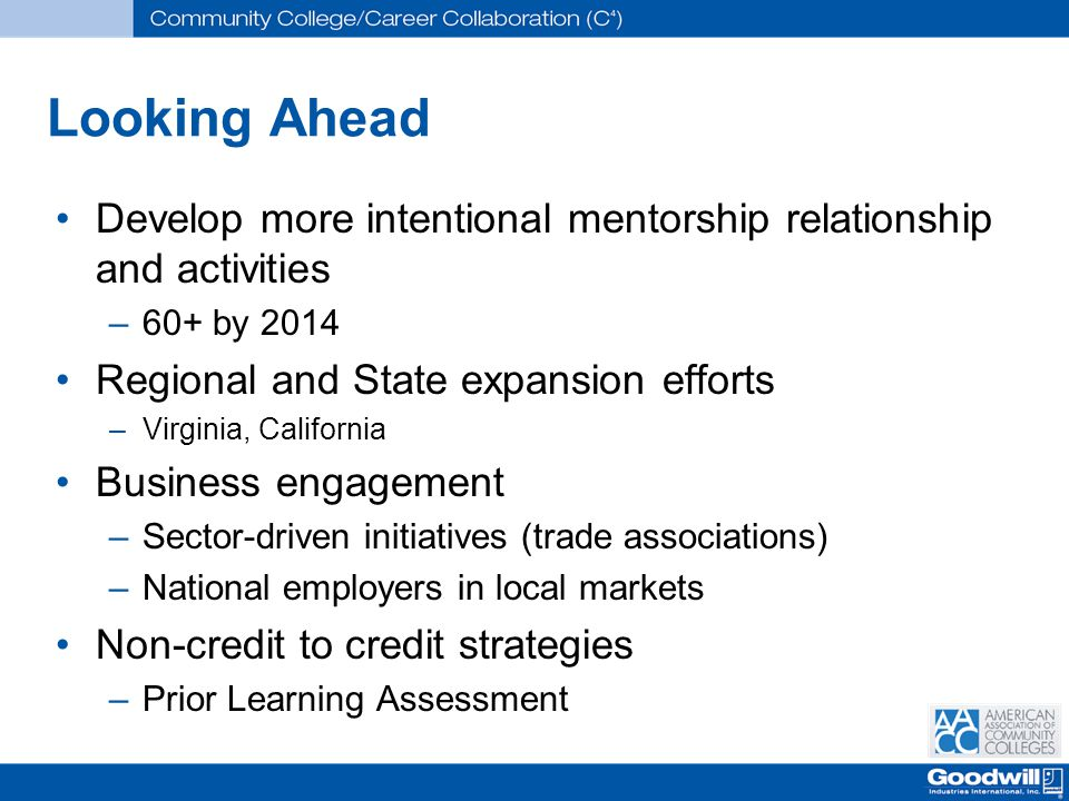 Looking Ahead Develop more intentional mentorship relationship and activities –60+ by 2014 Regional and State expansion efforts –Virginia, California