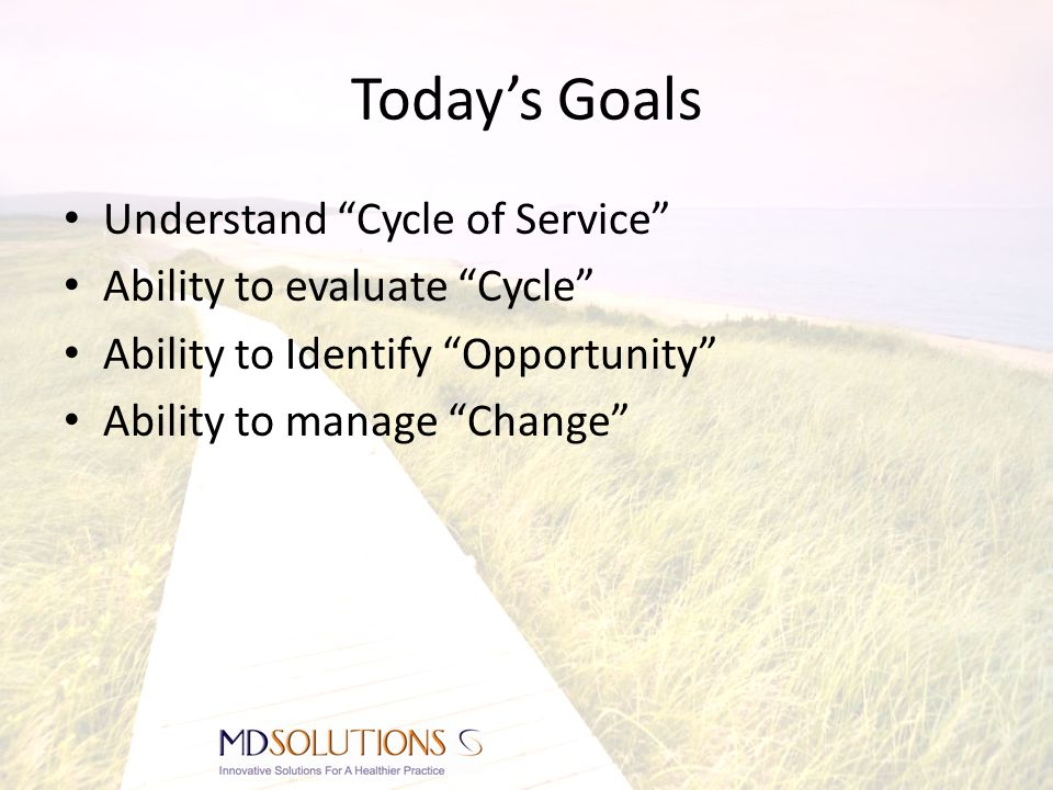 Today's Goals Understand Cycle of Service Ability to evaluate Cycle Ability to Identify Opportunity Ability to manage Change