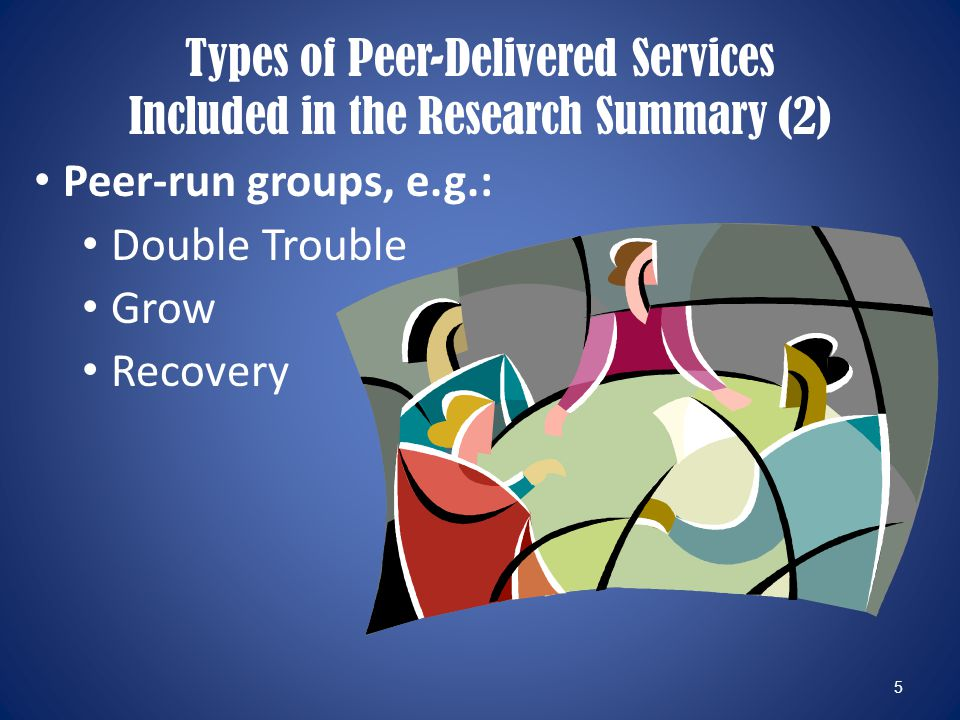 5 Peer-run groups, e.g.: Double Trouble Grow Recovery Types of Peer-Delivered Services Included in the Research Summary (2)