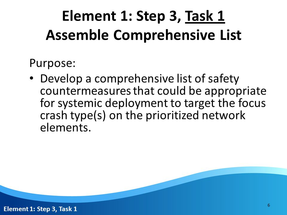 Element 1: Step 3, Task 1 Assemble Comprehensive List Purpose: Develop a comprehensive list of safety countermeasures that could be appropriate for systemic deployment to target the focus crash type(s) on the prioritized network elements.