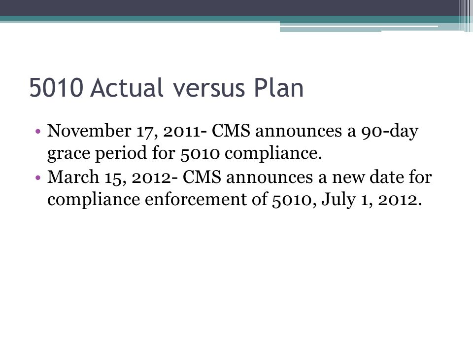 5010 Actual versus Plan November 17, 2011- CMS announces a 90-day grace period for 5010 compliance. March 15, 2012- CMS announces a new date for compl