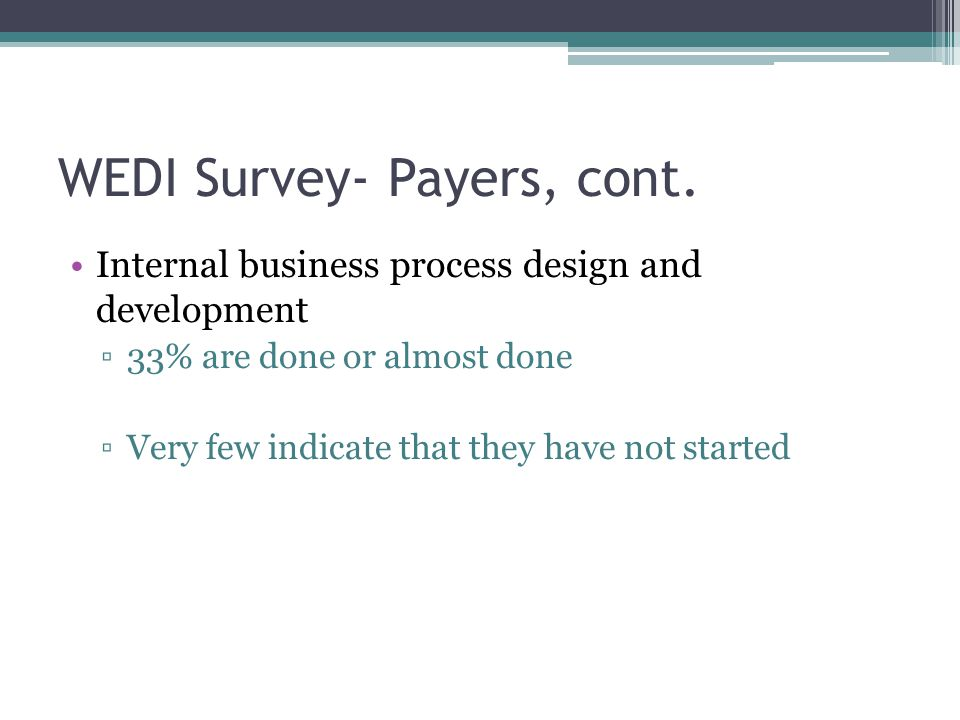 WEDI Survey- Payers, cont. Internal business process design and development ▫33% are done or almost done ▫Very few indicate that they have not started