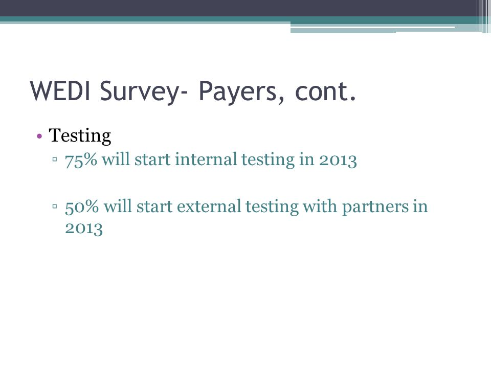 WEDI Survey- Payers, cont. Testing ▫75% will start internal testing in 2013 ▫50% will start external testing with partners in 2013