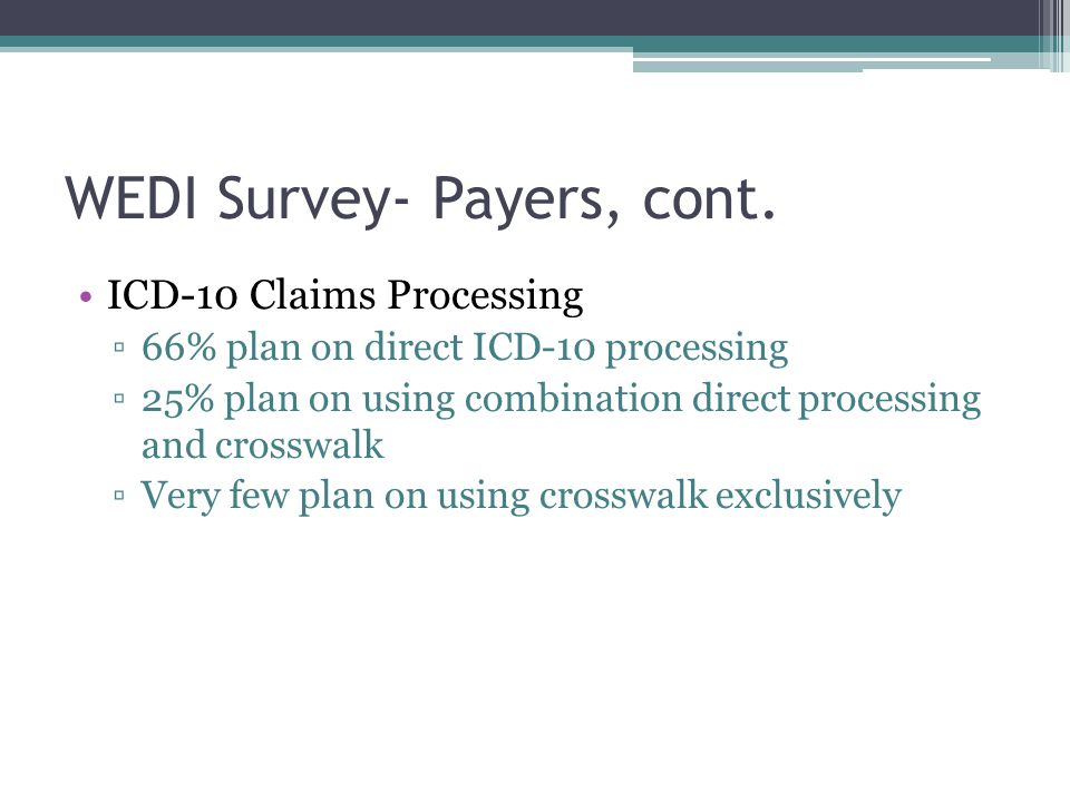 WEDI Survey- Payers, cont. ICD-10 Claims Processing ▫66% plan on direct ICD-10 processing ▫25% plan on using combination direct processing and crosswa