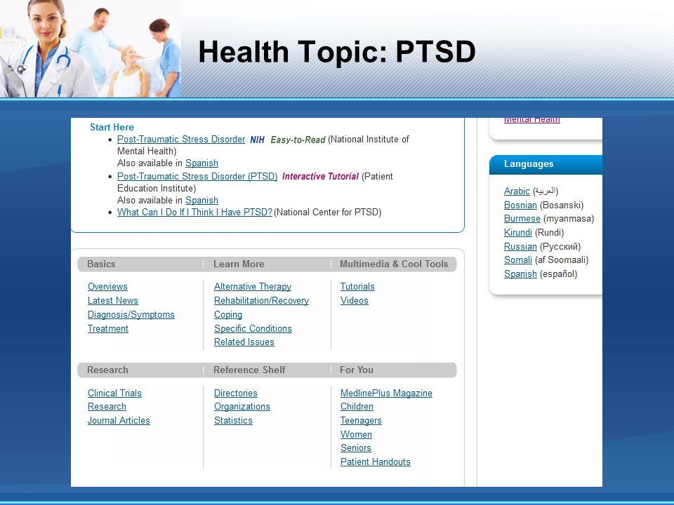 Health Topic: PTSD