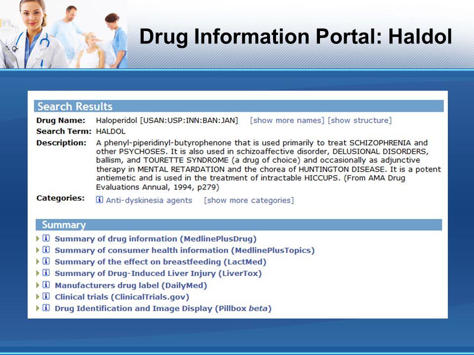 Drug Information Portal: Haldol