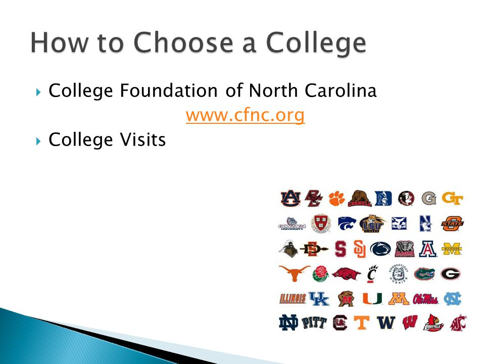  College Foundation of North Carolina www.cfnc.org  College Visits