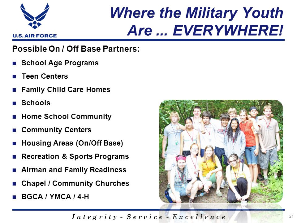 I n t e g r i t y - S e r v i c e - E x c e l l e n c e Where the Military Youth Are... EVERYWHERE! Possible On / Off Base Partners: School Age Progra