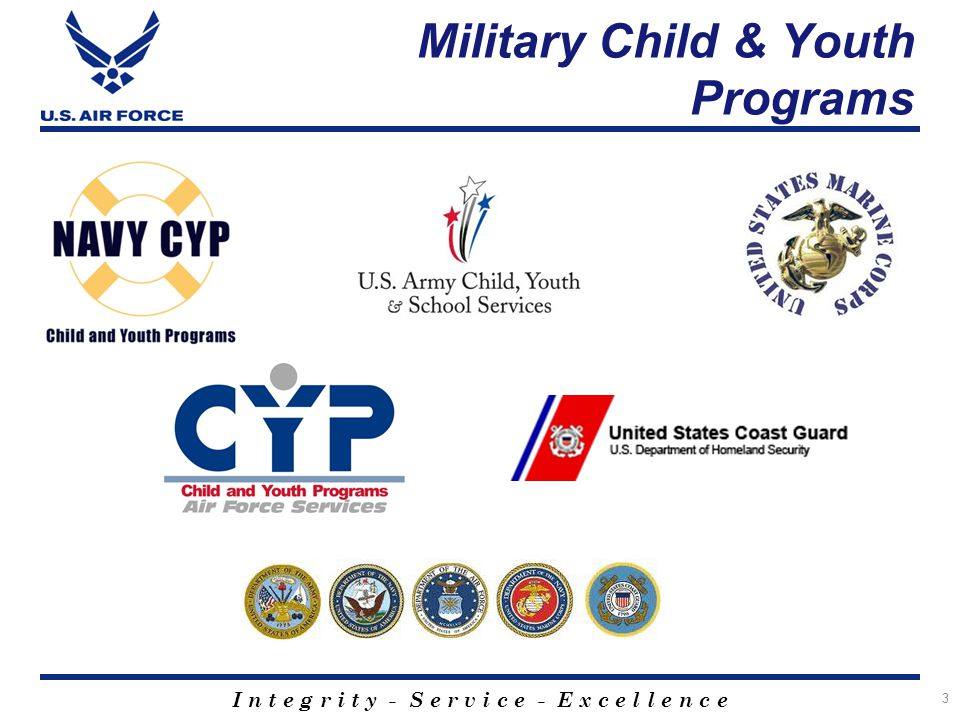 I n t e g r i t y - S e r v i c e - E x c e l l e n c e Military Child & Youth Programs 3