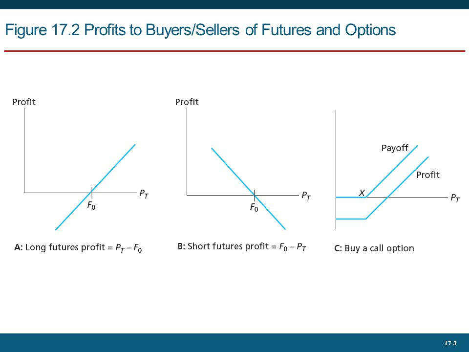 17-3 Figure 17.2 Profits to Buyers/Sellers of Futures and Options