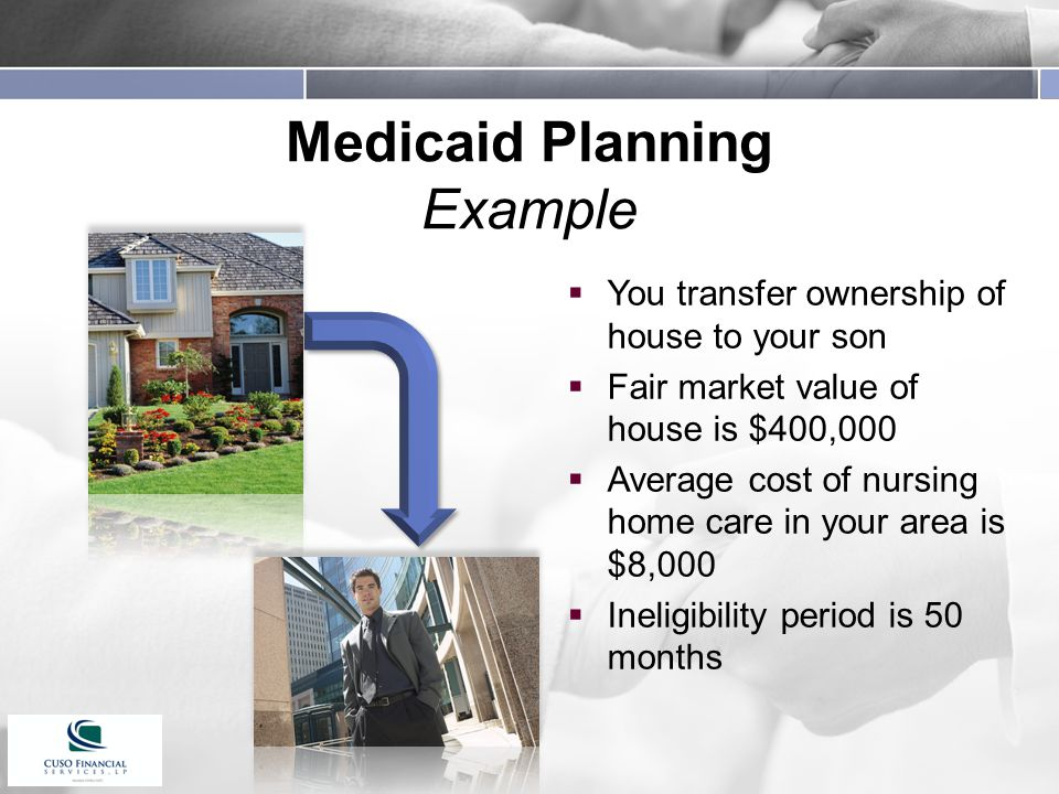 Medicaid Planning Example  You transfer ownership of house to your son  Fair market value of house is $400,000  Average cost of nursing home care in your area is $8,000  Ineligibility period is 50 months