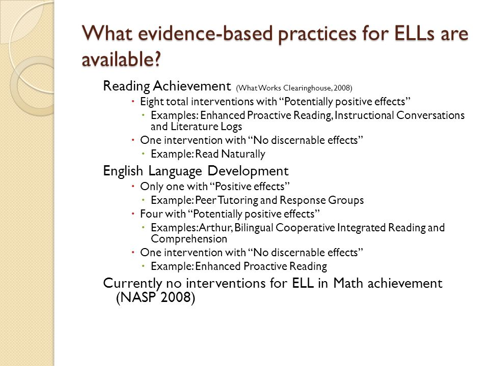 What evidence-based practices for ELLs are available.