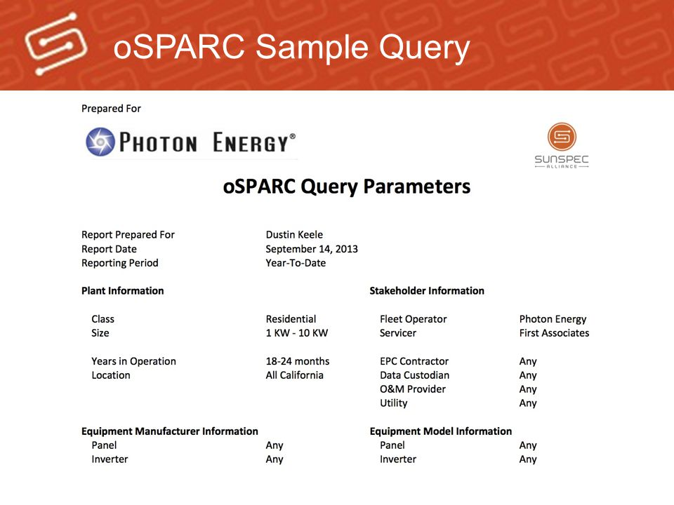 oSPARC Sample Query